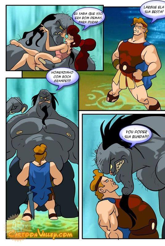 Hércules: Nesse cartoon pornô vemos uma linda donzela sendo sequestrada por um centauro